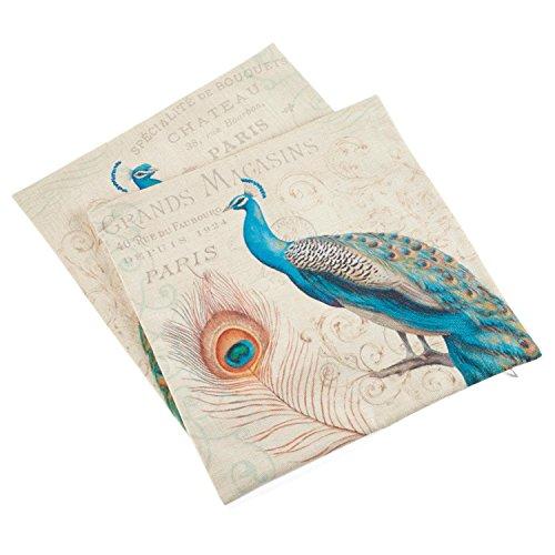 2-Piece Printed Green Peacock Decorative Cotton Linen Square