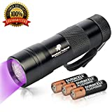 uv flashlight filter - 365nm UV Flashlight – Best for Finding Pet Urine, Inspecting Hotel Rooms and Repairing Carpets – 12 LED Ultraviolet Light – AAA Batteries Included – 6 Months Guarantee by Americans' Preferred