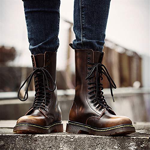 Botte Marron Bottines Lacets Chaussures Classiques Homme chaud Fourrées Plates Bottes Combat Chaudes Cuir Femme Impermeables Boots Hiver De Tqgold En dqn0U6Fd