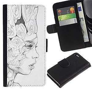 APlus Cases // Apple Iphone 4 / 4S // Blanco Negro Lápiz Mujer Moda Arte // Cuero PU Delgado caso Billetera cubierta Shell Armor Funda Case Cover Wallet Credit Card