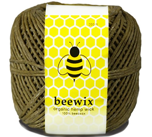 Organic Hemp Wick with 100% Natural Beeswax Coating Unbleached 200ft | beewix