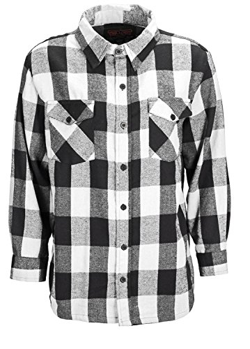 Trailcrest men's long sleeve button down shirt, comfortable and classic plaid, color white, size medium (White Plaid Fleece)