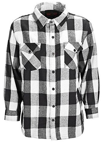 Trailcrest men's long sleeve button down shirt, comfortable and classic plaid, color white, size medium (Plaid White Fleece)