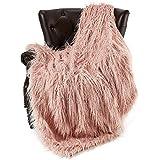featured product FFLMYUHUL I U Super Soft Faux Fur Throw Blanket & Bedspread Mongolian Fur Blanket Long Faux Fur Blanket Decorative for Bedroom Sofa Floor MT779-A-light Pink