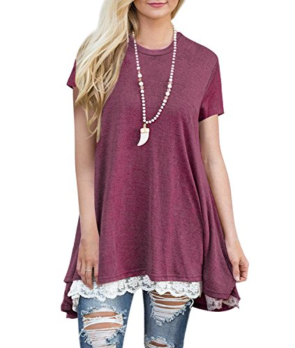 Maxjeef Women's Short Sleeve Lace Scoop Neck A-Line Tunic Tops T Shirt Blouse Plus Size (Wine Red, - White Wear Neck