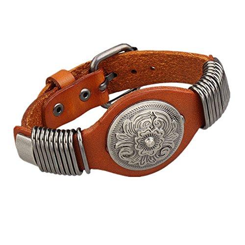MULBA femmes r¨¦glables en cuir v¨¦ritable Bracelet Bracelet manchette Rivet SL2851