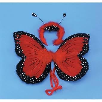 Las grandes alas de mariposa de color rojo y plumas de tela de 50 cm con diadema a juego