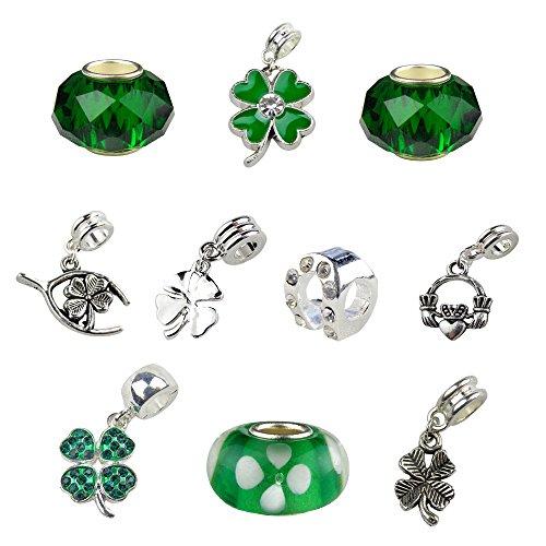 Set of 10 Irish Charms and Beads; Shamrocks, Claddagh, -