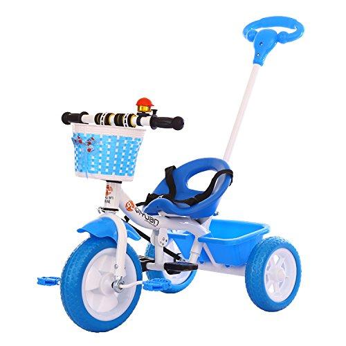 Refine Fashion Outdoor Folding Mute Trolley As Children's Christmas Gift Folding Aluminum Trolley multi-function Stroll Trike (Blue) (Christmas Gift Baskets Target)