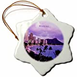 3dRose orn_62011_1 City of Waikiki Hawaii-Snowflake Ornament, Porcelain, 3-Inch