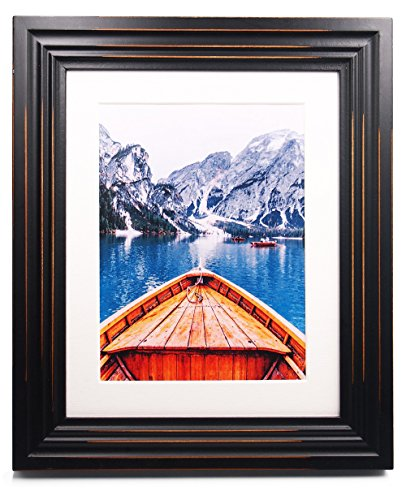 ZingVic 8x10 Black Wood Picture Frame with Glass Front - American Classic style Antiquated - Wide Molding - Table Desk Top or Wall Hanging - Solid Wood Tabletop