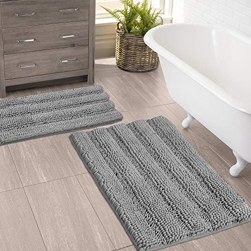 "(Set of 2) Bathroom Rugs and Bath Mats by Zebrux, 20×30""+15×23"" Set Extra Soft and Absorbent – Striped Bath Rugs Set…"