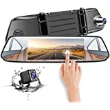 Mirror Dash Cam, CHICOM Dual Dashboard Camera Recorder 7 LCD 1080P Full HD IPS Touch Screen 170° Wide Angle Front Rear View Car Video Recorder with G Sensor, Parking Monitor, Loop Recording