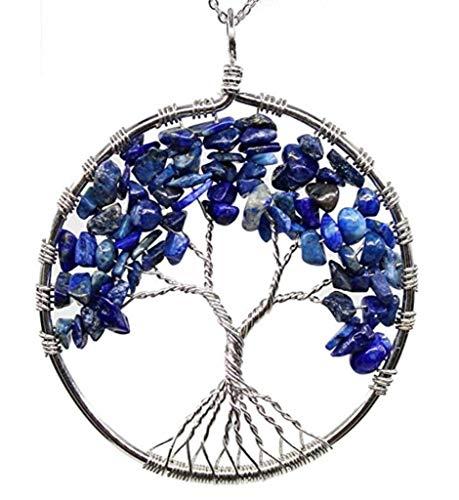 Tree of Life Natural Lapis Lazuli Gemstone Pendant Necklace Healing Crystals Chakra Gem Stone 26 inch Great Gift GGP9-4
