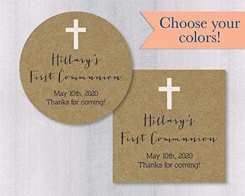 (Baptism, First Communion, Christening Kraft Favor Stickers/Labels (#267-KR))