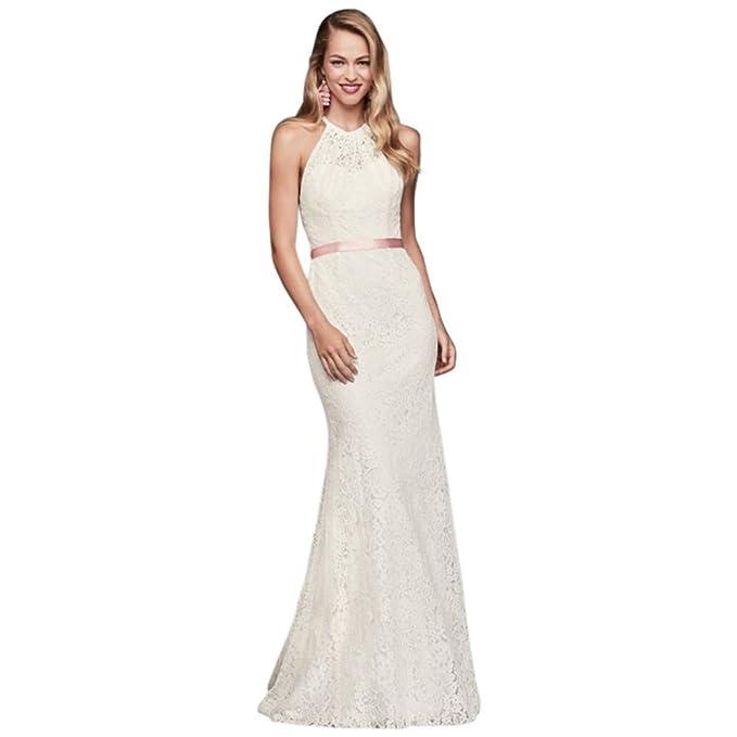 Illusion Lace Halter Sheath Wedding Dress Style Wg3883 At