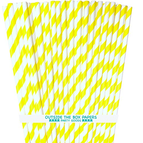 Striped Paper Straws - Yellow White - 7.75 Inches - Pack of 100