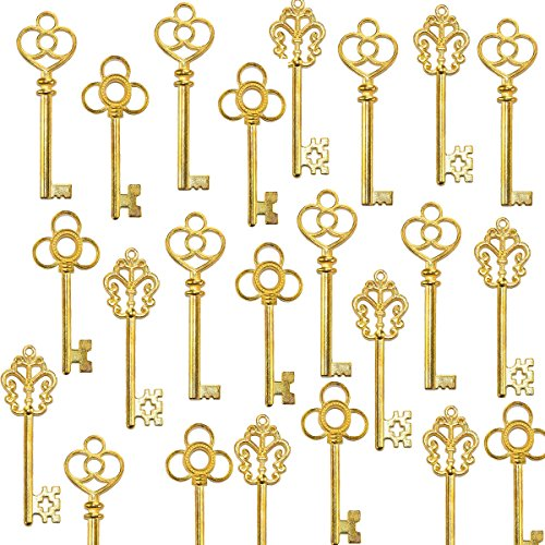 Mixed Set of 30 Large Skeleton Keys Antique Style Golden Vintage Keys for Birthday Party Favors, Wedding décor ,Craft Jewelry Projects,Magic Santa Keys -- Gold from (Gold Key)