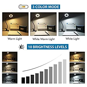 Clip on Light Reading Lights – iVict 24 LED USB Book Clamp Light with 3 Color Modes, 10 Brightness Dimmer and Auto Off Timer, Eye Protection Kids Desk Lamp, 360 ° Flexible Gooseneck Bed Night Light