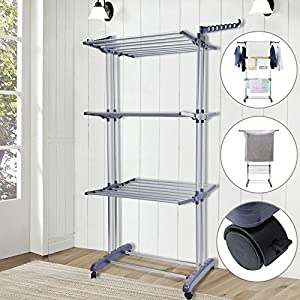 Voilamart Clothes Drying Rack 3 Tier with Wheels, Foldable Clothes Garment Dryer Compact Storage, Heavy Duty Stainless Steel Hanger, Laundry Indoor Outdoor Airer