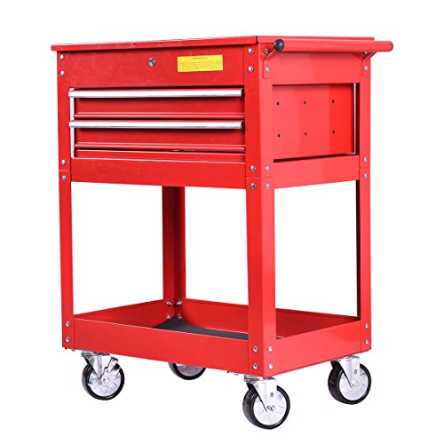 Eight24hours Metal Rolling Tool Cart 2 Drawer Cabinet Storage ToolBox Portable Mechanic Lock
