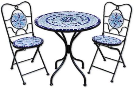1 Table et 2 chaises Pliables Salon de Jardin Neptune en mosaique Meubles terrasse Balcon