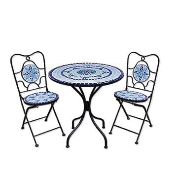 Deuba Neptun Ensemble table + 2 chaises pour jardin avec décorations en  mosaïque