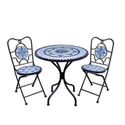 Mosaiksitzgarnitur NEPTUN 2x Stuhl + 1 Tisch Sitzgruppe Mosaiktisch Mosaikstuhl Gartentisch