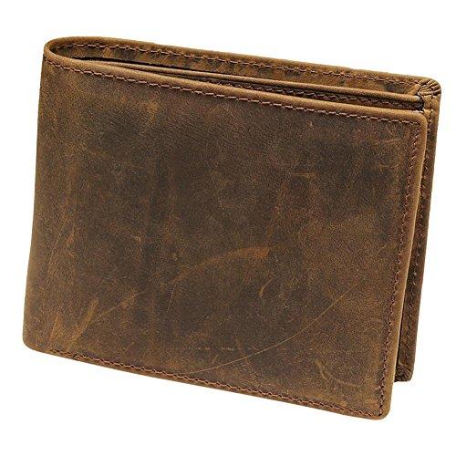 WTUS Hombre Carteras De Cuero Moda Nuevo Classics Vintage Monedero De Piel para Hombre Brown