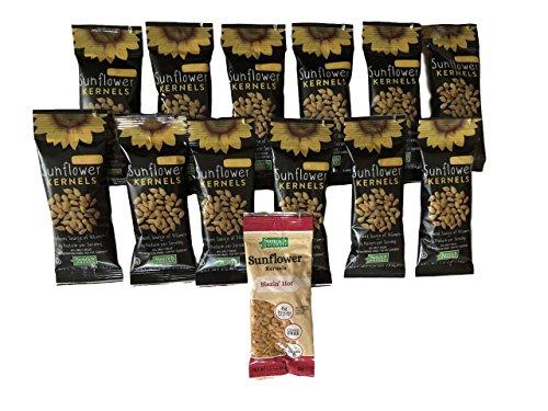 Sunflower Food Co Honey Roasted Sunflower Kernels 1.2 oz bags 12 Pack with Bonus Blazin Hot