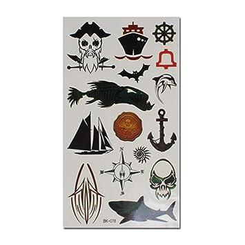 4 hojas de pegatinas de tatuaje temporal pirata de Halloween para ...