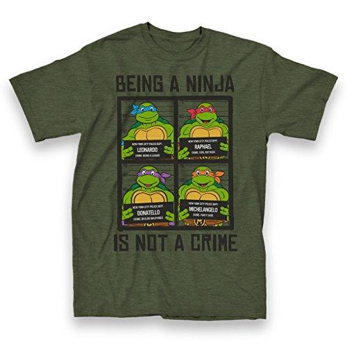 Teenage Mutant Ninja Turtles Crime Adult Forest Green T-Shirt (Adult X-Large)