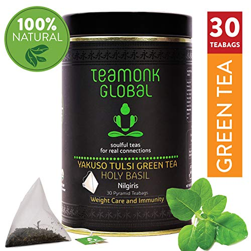 Nilgiri Tulsi Green Tea, 30 Teabags   Supports Weight Loss & Immunity   100% Natural Tulsi with Whole Leaf Green Tea   No Additives