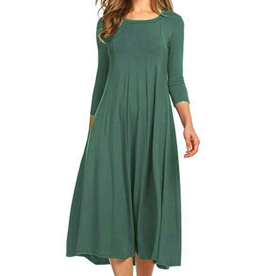 Kleid Damen Nachthemd Nachtkleid Sommerkleid A Linie Schlafanzugoberteile Nachtwäsche 3/4 Arm Sleepwear Umstandkleid Rundhals Lang 12 Farbenwählbar