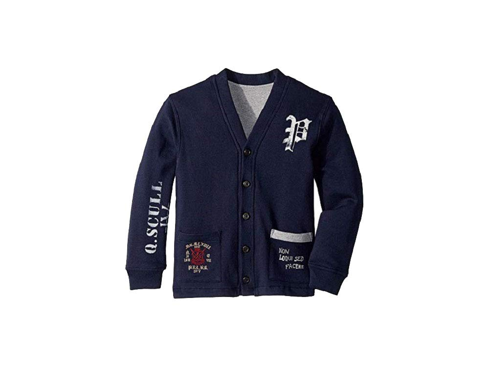 Polo Ralph Lauren Boys' Collegiate Reversible Fleece Cardigan (Navy, 5)