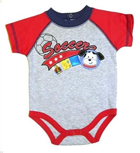 Taggies Baby Boys' Soccer Themed Henley Bodysuit (6-9 (Taggie Ball)