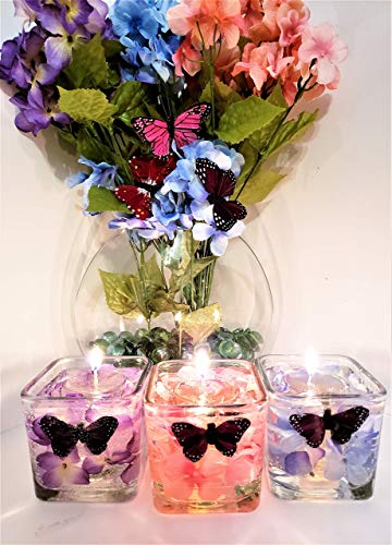 Gel Candle Embeds - Set of 2 Reusable Gel Wax Candles with Hydrangeas & Butterfly Embeds in Variety of Colors