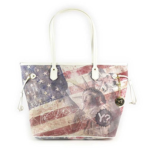 Borsa donna Shopping grande Y Not stampa bandiera USA - Serie New Flag F319