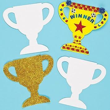 Baker Ross Blanko Pappformen Pokal Für Kinder Zum Bemalen Dekorieren Und Gestalten Für Sport Und Spiel 12 Stück