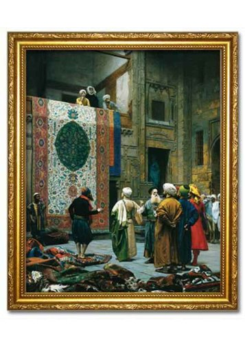 The Carpet Merchant, 1887. Faux Canvas Frame. Reproduction of an Oriental painting by Jean Leon Gerome