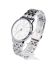 Dictac Men's Metal Strap Alloy Case 30M Waterproof Japanese Movement Leisure Wrist Watch (white)