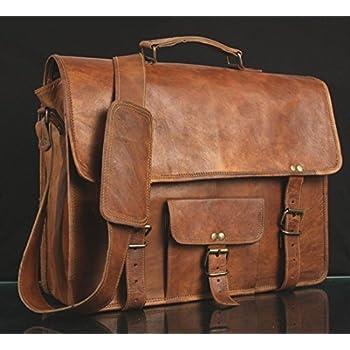 Amazon.com: Syon 16-Inches Brown Leather Cross-body Messenger Bag ...