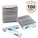 Strong Magnetic Name Badge Holders with Steel Back Plate, 100 Pack Name Tags/ID Badge Magnets, Fastener with 3M Adhesive on Front Plate,Strength Neodymium Magnets
