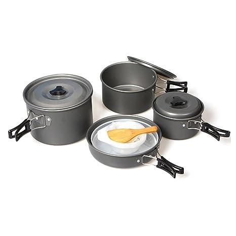 SOGAR portš¢til 4-5 Establece ollas y sartenes camping cocina casera de alta calidad antiadherente Olla: Amazon.es: Deportes y aire libre