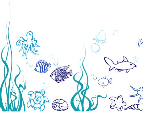 Under the Sea, Fish Wall Decals Nursery Children's Kids Room Boy's Removable Vinyl Wall Art Stickers Home Decor (Blue theme)