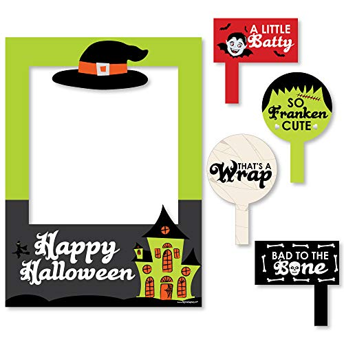 Big Dot of Happiness Halloween Monsters - Halloween Party Photo Booth Picture Frame & Props - Printed on Sturdy Material]()