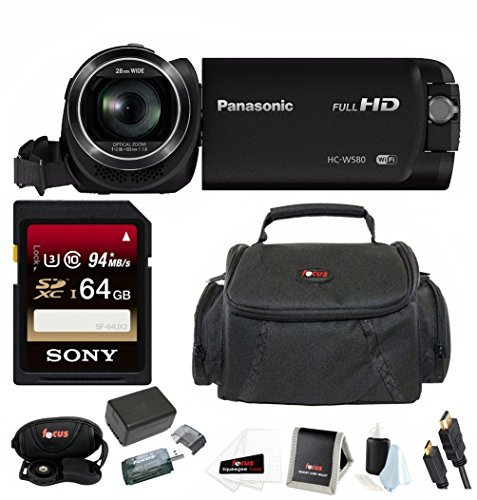 Panasonic HC-W580K Full HD 1080p Camcorder w/Twin Camera & 64GB SD Card Bundle