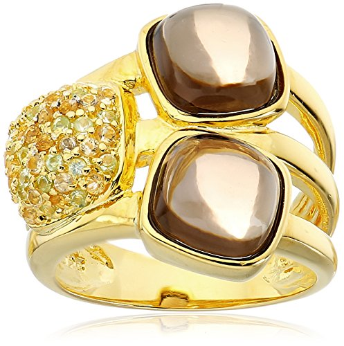 Gold Plated Smokey Quartz Ring with Pave Citrine and Peridot Ring, Size 7 (Gold Plated Smokey Quartz)