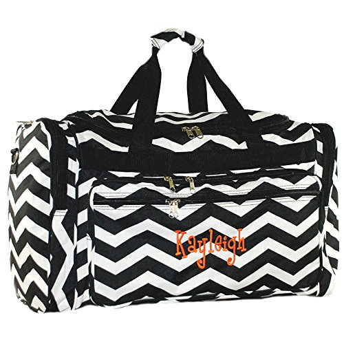 Personalized Chevron Black Duffle Bag 22 Inch