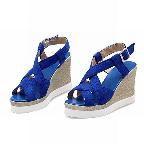 Johannesbroeken Womens Fashion Fashion Elegantie Peep Toe Platform Wiggen Sandalen Blauw